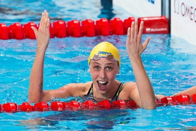 Jennie Johansson (SWE) is World Champion in women's 50m breaststroke on Day 8 of 2015 FINA World Championships  (courtesy of Tim Binning, theswimpictures.com)
