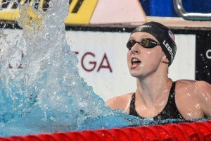 Katie Ledeky breaks world record in the 1500 at the 2015 FINA world championships Kazan Russia (photo: Mike Lewis, Ola Vista Photography)