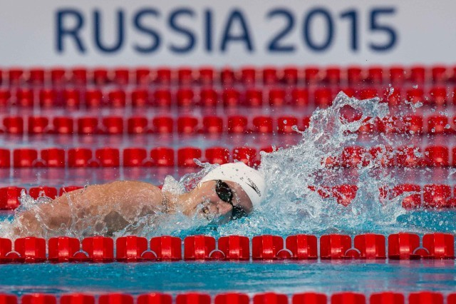 Katie Ledecky in the prelims of the 400 free at at the 2015 FINA world championships Kazan Russia (photo: Mike Lewis, Ola Vista Photography)