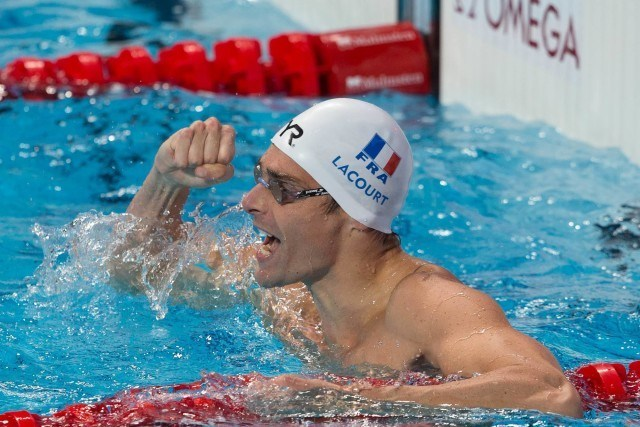 Camille Lacourt (FRA), World Champion in men's 50m backstroke wtih 24.23. Day 8 of 2015 FINA World Championships  (courtesy of Tim Binning, theswimpictures.com)