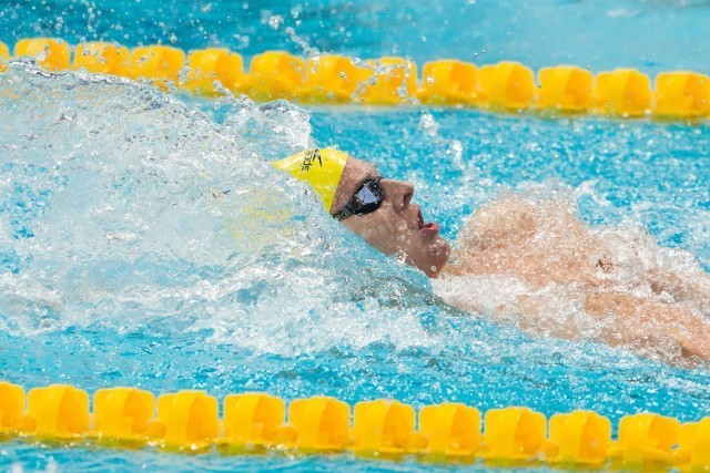 Mitchell Larkin (AUS) posted the fastest semi-final time in the men's 200 backstroke with a new Oceanian record of 1:54.29. 2015 World Championships  (courtesy of Tim Binning, theswimpictures.com)