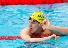 Australia's Mitchell Larkin breaks 100m backstroke Oceania record qualifying fastest for semi final 52.50, photo courtesy of Tim Binning theswimpictures.com