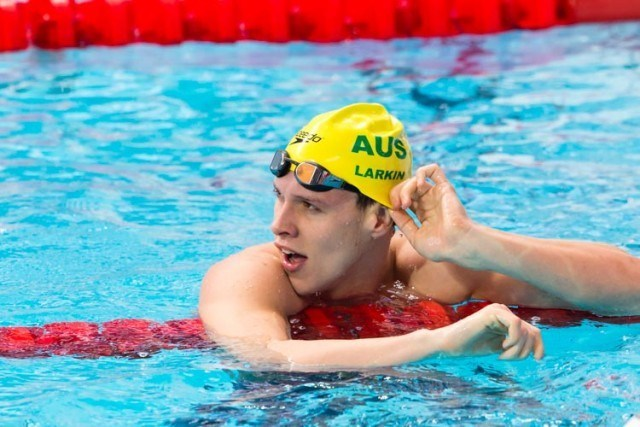 Australia's Mitchell Larkin breaks 100m backstroke Oceania record qualifying fastest for semi final 52.50, photo courtesy of Tim Binning theswimpictures.com