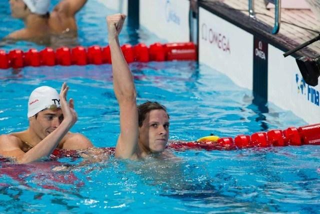 Mitchell Larkin, AUS. Men's 100 backstroke World Champion. Day 3 of 2015 World Championships. (courtesy of Tim Binning, theswimpictures.com)