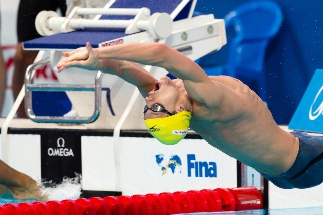 Mitchell Larkin (AUS) led off the Dolphins' 4x100m medley relay that qualified 3rd for the final. 2015 FINA World Championships  (courtesy of Tim Binning, theswimpictures.com)