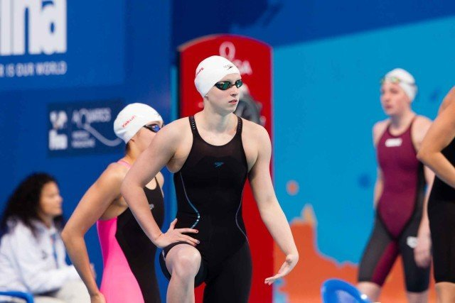 Ledecky qualifies fastest through to the women's 200m freestyle semi finals 1.55.82, (courtesy of Tim Binning, theswimpictures.com)
