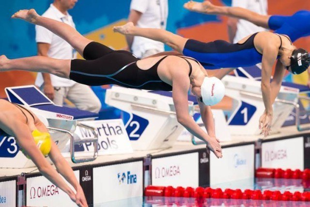 Katie Ledecky in action , 2015 World Championships  (courtesy of Tim Binning, theswimpictures.com)