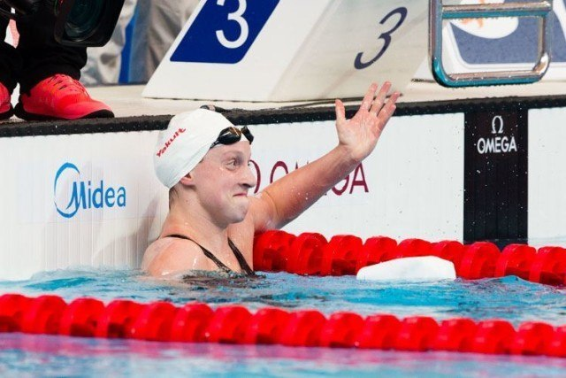 Katie LEDECKY sets new WORLD RECORD in 1500m heats 15.27.71!! Photos courtesy of Tim Binning theswimpictures.com
