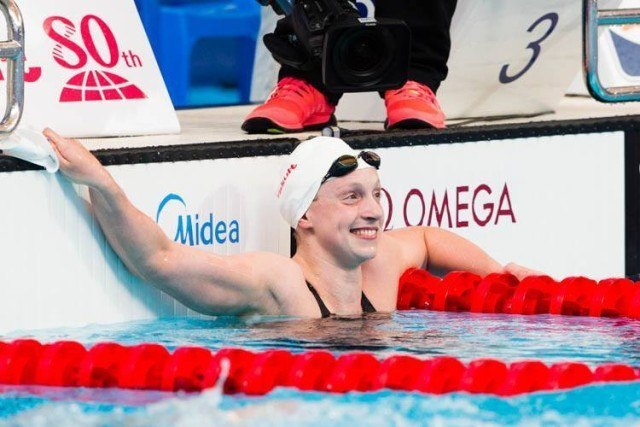 Katie LEDECKY soaking in the new WR time, photos courtesy of Tim Binning theswimpicture.com