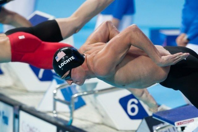 Ryan Lochte, USA, at start of men's 200 IM semi-final on Day 4 of 2015 World Championships. (courtesy of Tim Binning, theswimpictures.com)