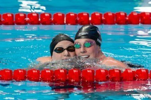 Katie Ledecky (L) and Missy Franklin (R) of USA won Gold and Bronze in women's 200m free on Day 4 of 2015 World Championships (courtesy of Tim Binning, theswimpictures.com)