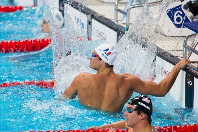 Florent Manaudou (FRA) is World Champion in men's 50m free with 21.19. 2015 FINA World Championships  (courtesy of Tim Binning, theswimpictures.com)