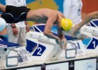 Australia's speedster Cameron McEvoy leaps into the men's 100 freestyle prelims