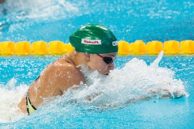 Ruta Meilutyte (LTU) was top qualifier for women's 50m breast final at 2015 FINA World Championships  (courtesy of Tim Binning, theswimpictures.com)