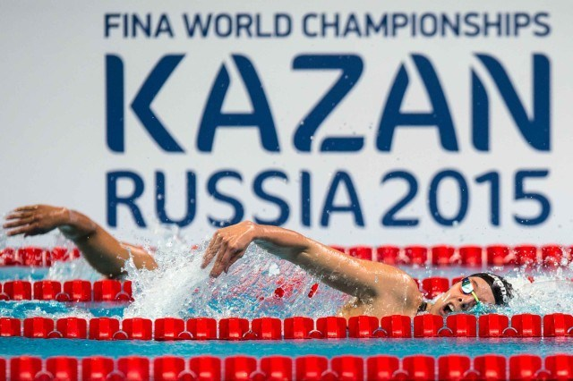 Columian Maria Alvarez Pugliese swims the prelims of the 400 free at at the 2015 FINA world championships Kazan Russia (photo: Mike Lewis, Ola Vista Photography)