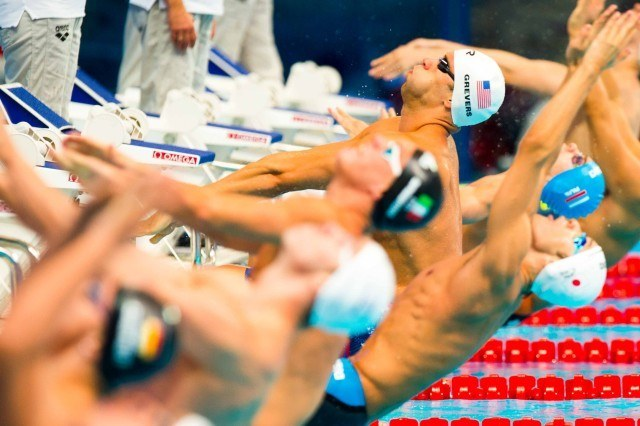 Matt Grevers in the heats of the 100 back at the 2015 FINA world championships Kazan Russia (photo: Mike Lewis, Ola Vista Photography)