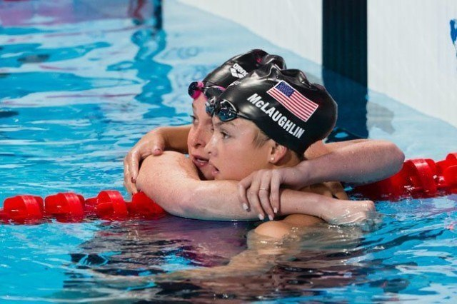 Camille Adams (L) and Katie McLaughlin (R) will both represent USA in the women's 200 fly final after qualifying 6th and 5th in semi-finals on Day 4 of 2015 World Championships. (courtesy of Tim Binning, theswimpictures.com)