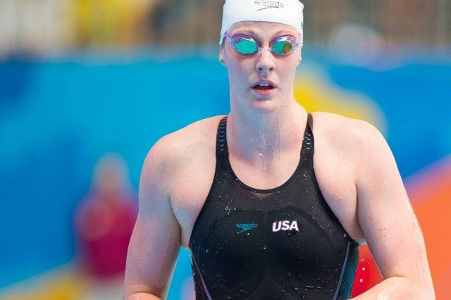 Missy Frankin following the heats of the 100 back at the 2015 FINA world championships Kazan Russia (photo: Mike Lewis, Ola Vista Photography)