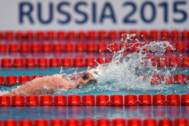Missy Franklin in the prelims of the 200 free at the 2015 FINA world championships Kazan Russia (photo: Mike Lewis, Ola Vista Photography)