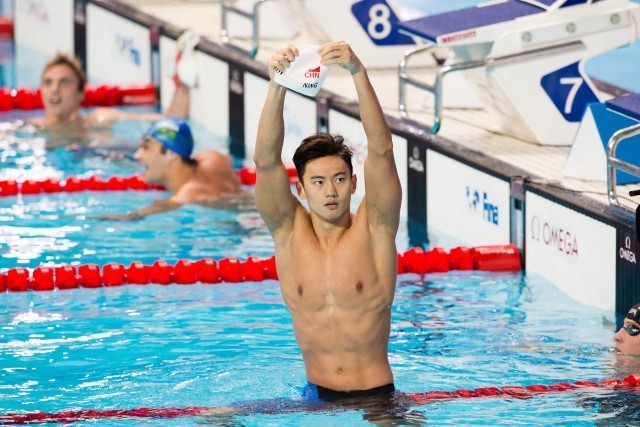 Ning Zetao (CHN), World Champion in men's 100m freestyle in 47.84. 2015 World Championships  (courtesy of Tim Binning, theswimpictures.com)