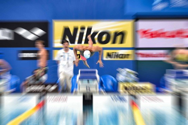 Nathan Adrian in the 100 free at the 2015 FINA world championships Kazan Russia (photo: Mike Lewis, Ola Vista Photography)