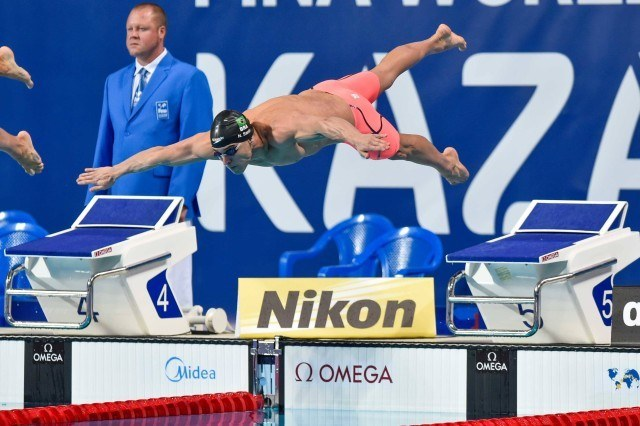 Nicholas Santos in the finals of the 50 fly at the 2015 FINA world championships Kazan Russia (photo: Mike Lewis, Ola Vista Photography)