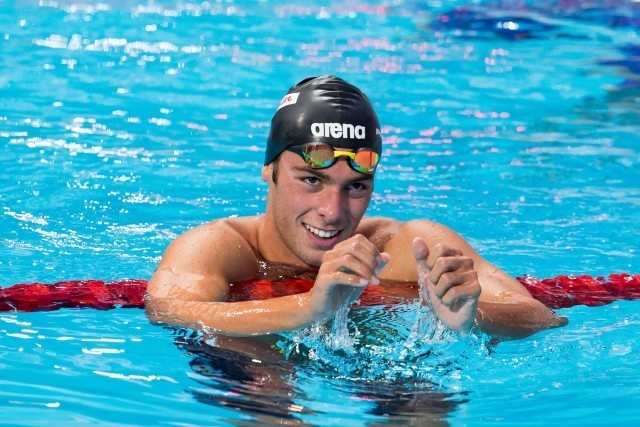 Gregorio Paltrinieri (ITA), World Champion in men's 1500m freestyle with European record of 14:39.67. Day 8 of 2015 FINA World Championships  (courtesy of Tim Binning, theswimpictures.com)