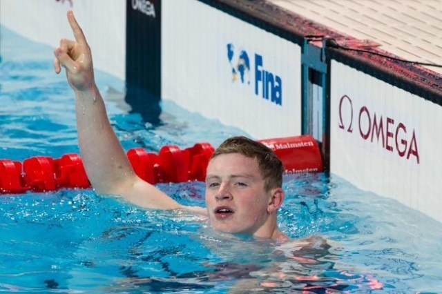 Adam Peaty, GBR, is World Champion in men's 50m breast (26.51) on Day 4 of 2015 World Championships  (courtesy of Tim Binning, theswimpictures.com)