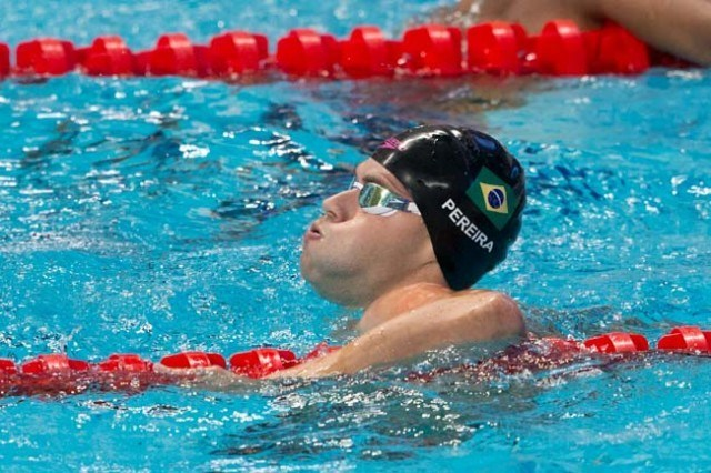 Thiago Pereira, BRA, finished 3rd overall in men's 200 IM semi-final on Day 4 of 2015 World Championships. (courtesy of Tim Binning, theswimpictures.com)
