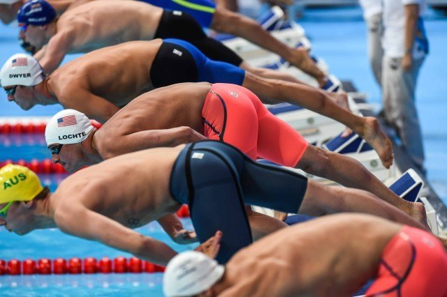 Final heat of the prelims in the 200 IM at the 2015 FINA world championships Kazan Russia (photo: Mike Lewis, Ola Vista Photography)
