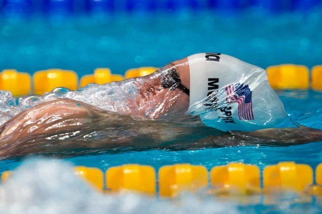 Ryan Murphy in the prelims of the 200 back at the 2015 FINA world championships Kazan Russia (photo: Mike Lewis, Ola Vista Photography)