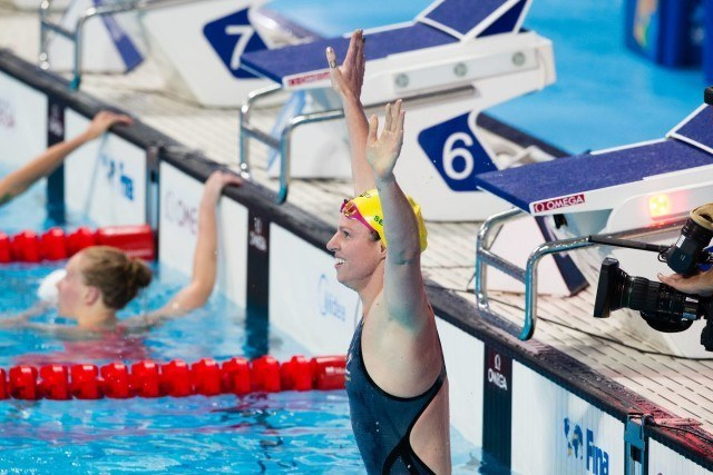 Emily Seebohm (AUS) is World Champion in women's 200m back at 2015 FINA World Championships  (courtesy of Tim Binning, theswimpictures.com)