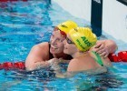 Emily Seebohm, AUS and Madison Wilson, AUS go 1-2 in women's 100 backstroke on Day 3 of 2015 World Championships. (courtesy of Tim Binning, theswimpictures.com)