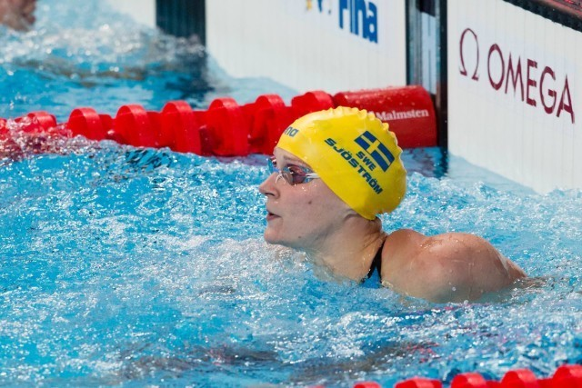 Sarah Sjostrom (SWE) posted the top women's 100 free time of 52.74 in semi-finals, then went on to lead off Sweden's 4x200m freestyle relay in 1:54.31. 2015 World Championships  (courtesy of Tim Binning, theswimpictures.com)
