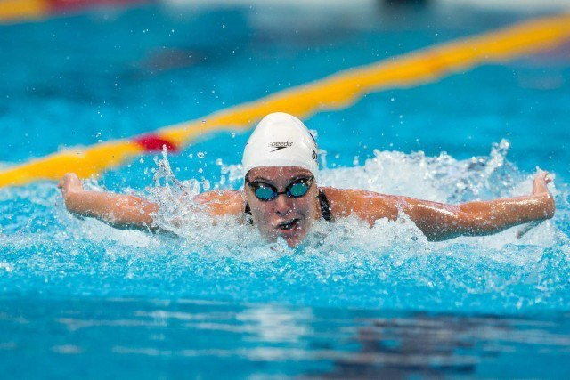 Kendyl Stewart (USA) in prelims of women's 4x100m medley relay at 2015 FINA World Championships  (courtesy of Tim Binning, theswimpictures.com)