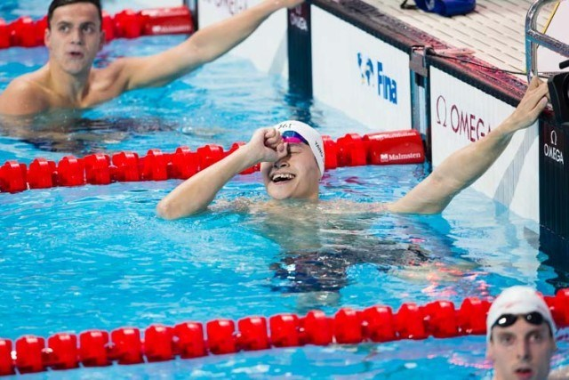 Sun Yang, 400 free, 2015 World Championships  (courtesy of Tim Binning, theswimpictures.com)