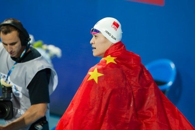 Sun Yang, CHN, is World Champion in men's 800m free with 7:39.96. Day 4 of 2015 World Championships  (courtesy of Tim Binning, theswimpictures.com)