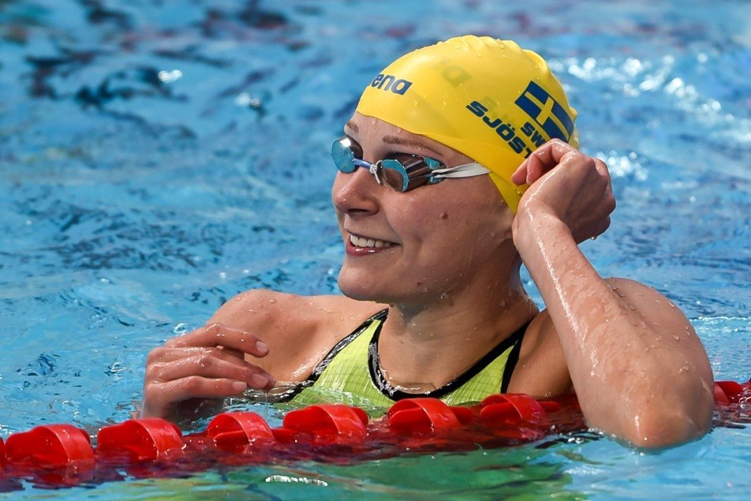 Sjostrom Lands #1 Ranking with 52.5 100 Free at Stockholm Open