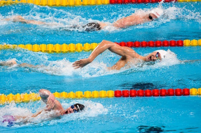 Sun Yang in the prelims of the 800 free at the 2015 FINA world championships Kazan Russia (photo: Mike Lewis, Ola Vista Photography)