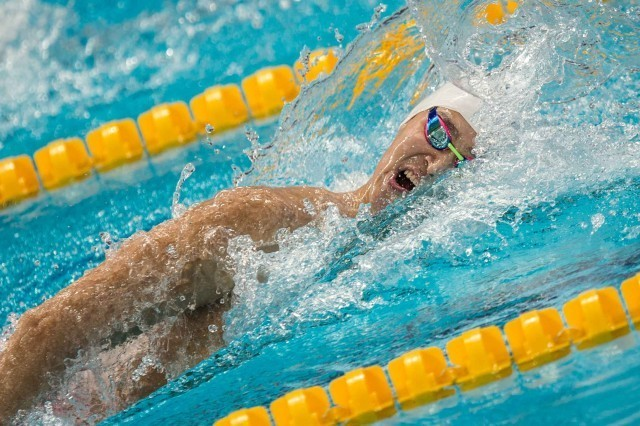 Sung Yang in the prelims of the 400 free at the 2015 FINA world championships in Kazan (photo: Mike Lewis, Ola Vista Photography)