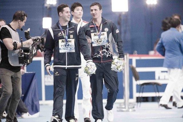 Thiago Pereira, Shun Wang and Ryan Lochte following the 200IM awards at the 2015 FINA world championships Kazan Russia (photo: Mike Lewis, Ola Vista Photography)