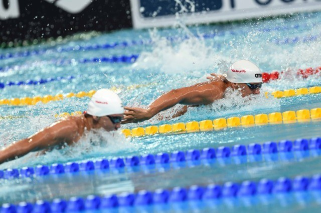 Tom Shiedls in the prelims of the 200 fly at the 2015 FINA world championships Kazan Russia (photo: Mike Lewis, Ola Vista Photography)