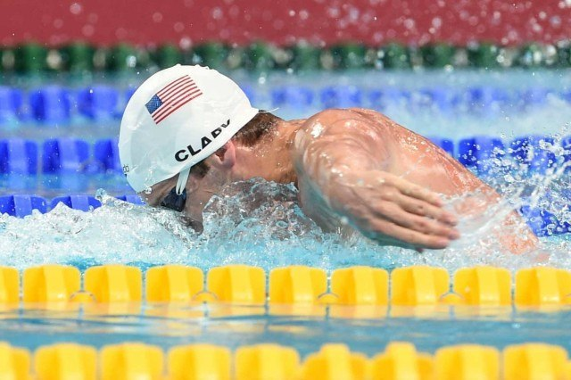 Tyler Clary in the prelims of the 200 fly at the 2015 FINA world championships Kazan Russia (photo: Mike Lewis, Ola Vista Photography)