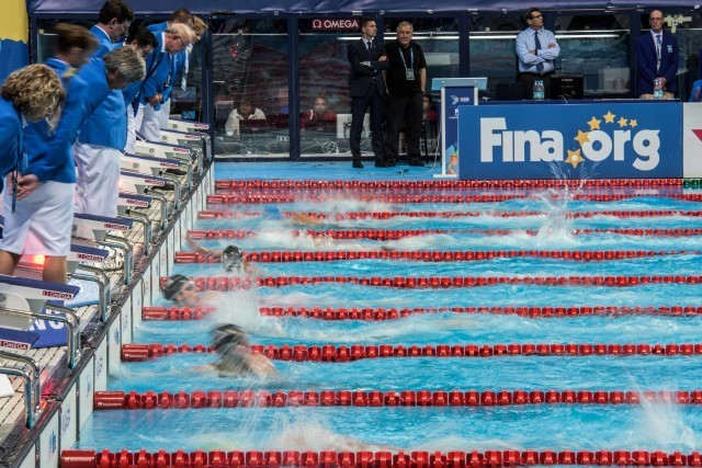 and it's moving at the finish at the 2015 FINA world championships Kazan Russia (photo: Mike Lewis, Ola Vista Photography)