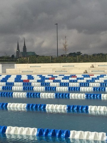outside_pool_with_cathedral 2015 Paris-Chartres World Cup (Photo Credit: Danny Kasper)