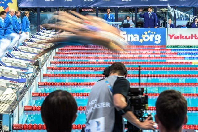 and it's on at the 2015 FINA world championships Kazan Russia (photo: Mike Lewis, Ola Vista Photography)