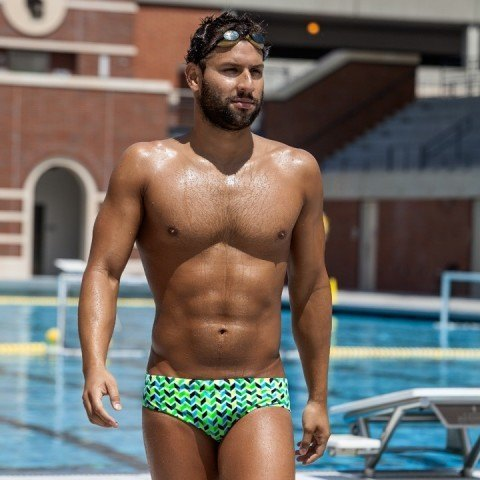Omar Pinzon wears his Funky Trunks Briefs in Golden Arms and says his swimcest relationship keeps him on the right path.