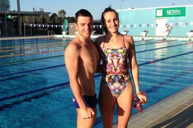 Aussie World Champs athlete Taylor McKeown wears her Funkita One Piece in Jungle Boogie on pool deck with her Kiwi boyfriend Julian Layton