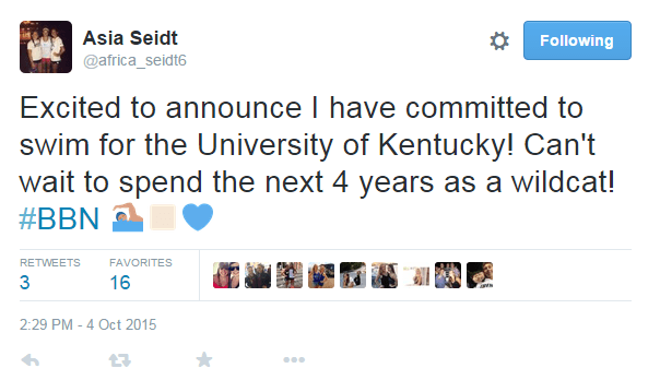 Asia Seidt Commit Tweet