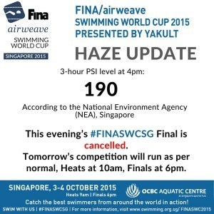 Day 1 of 2015 Singapore World Cup Cancelled Due to Haze
